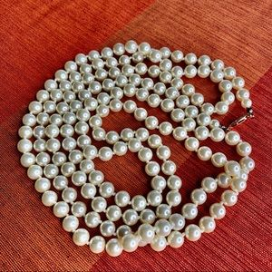 Vintage Glass Faux Pearl Necklace Hand Knotted 60""